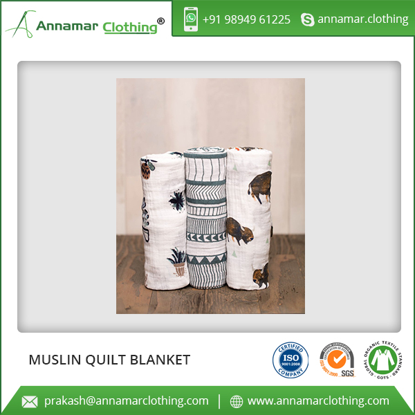 2017 Bulk Supplier of Muslin Cotton Quilted Cotton Blanket for Sale