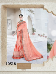 Heavy Embroided Gerogette Sarees with blouse for Women - Indian designer sarees online - Wholesale Sarees Online