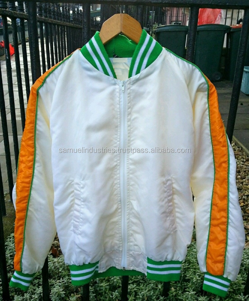 White Shell Cheerleader Varsity Bomber College Jacket\Fashion Stain White Winter Bomber Jacket With Green\Yellow Sleeves