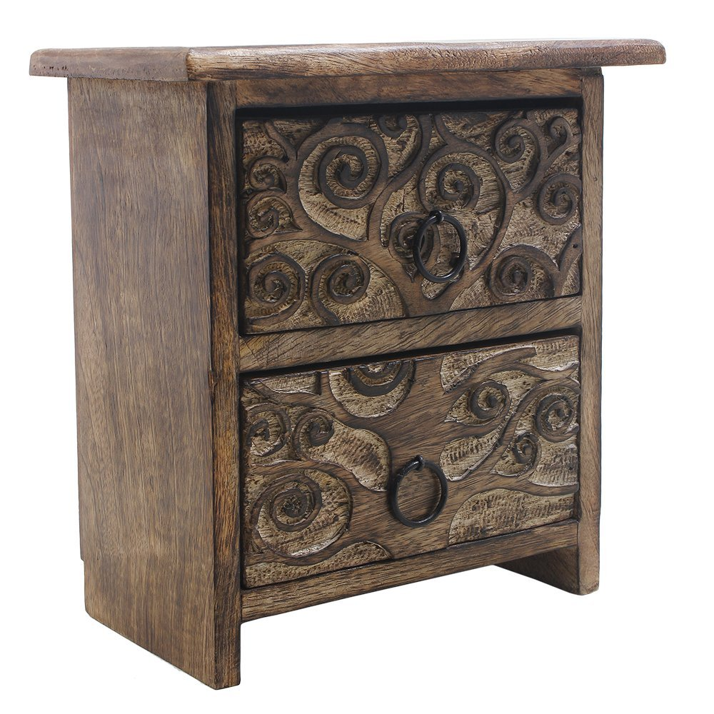 Store Indya Rustic Wooden Small Chest of 2 Drawers with Tree of Life Carvings - 8 x 7.5 inches