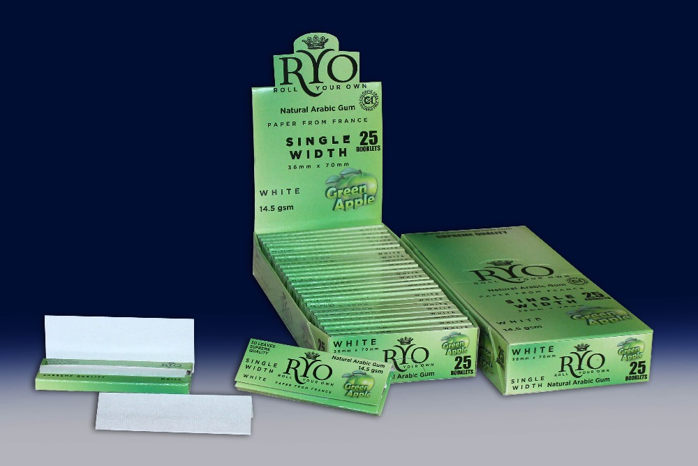 RYO Green Apple Flavored Rolling Paper, Wood, White, Single Width 36 x 70