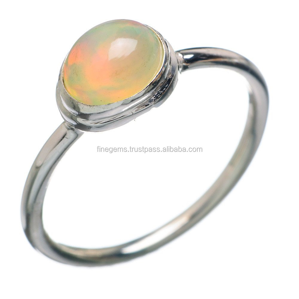 Natural ethiopian opal Oval gemstone ring 92.5 sterling silver