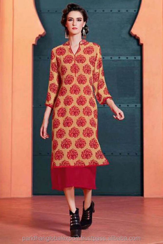 New Satin Kurti Long Sleeve Wholesale Kurta Formal, Party Wear All Season Various Neckstyle Designer Kurtis