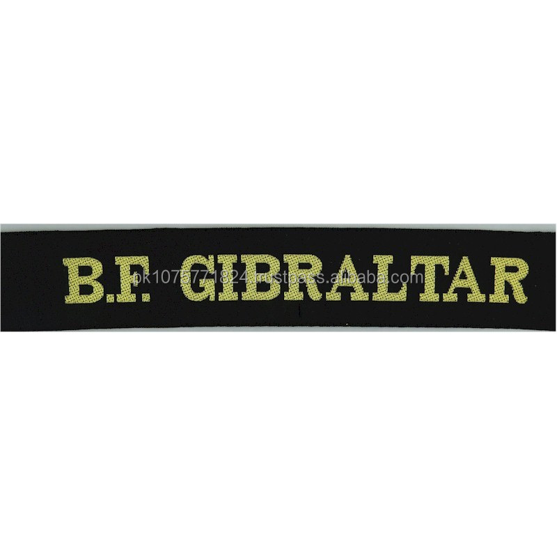 WOVEN BADGES BF Gibraltar (HQ British Forces Gibraltar) Cap-Tally Woven Naval cap badge or cap tally