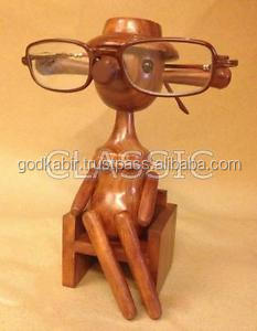 Wooden Doll (Lady) Spectacle Glasses Holder Special Stand Handicrafts/ Beautiful Home And office Decor Wooden Doll Statue/fancy