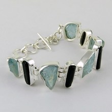 Let's Dance !! Aquamarine & Black Tourmaline 925 Sterling Silver Bracelet, Rough Stone Silver Jewellery, 925 Silver Jewellery