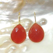 carnelian gemstones gold plated 925 sterling silver bezel hook earrings