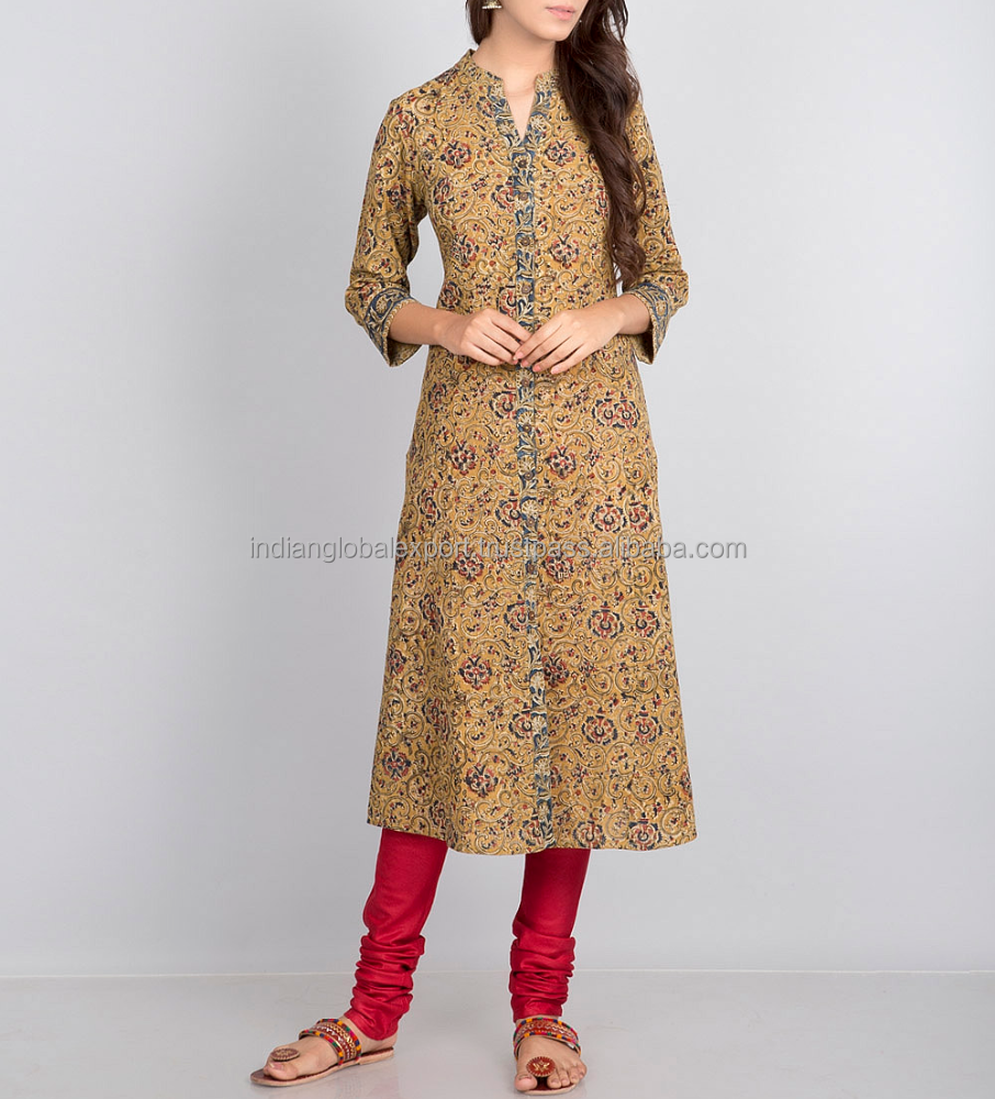 Cotton Front Open Kalamkari Long Kurta For Girls