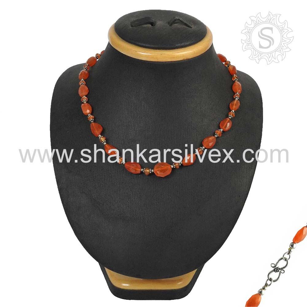 Hand made Design Carnelian 925 Sterling Silver Necklace Wholesaler Silver Jewelry Jaipur
