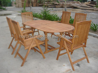 Dinning set included 01 oval extension table + 06 or 08 5-position chair, Eucalyptus hardwood FSC, Oil finish.