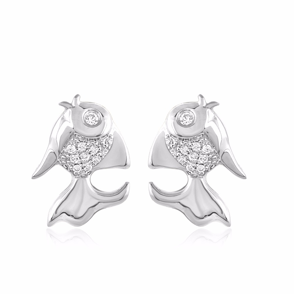 Natural Diamond Gold Fish Stud Earrings in 925 Sterling Silver (0.08 cttw)