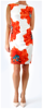 EYE CATCHING FLORAL PRINT SLEVELESS DRESS WITH SIDE WAIST GATHER. FULLY LINED IN JERSEY.