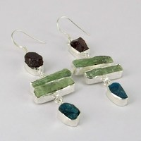 Sunrise Joy !! Garnet_Prehnite_Apatite 925 Sterling Silver Earring, 925 Silver Earring For Beautiful Women, Wholesale Earrings
