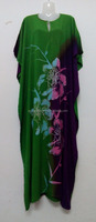 New Kaftan Dress Green Purple Batik Beauty Combination Color Floral Summer Caftan Cotton Full-Lenght Long Maxi Beach Dress 2X 3X