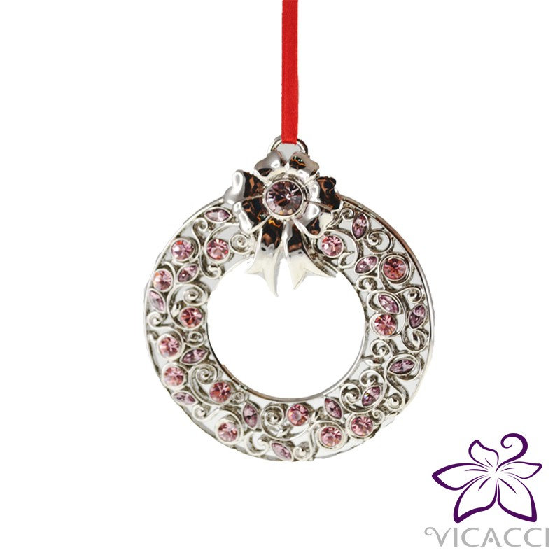14K White Gold Plated Metal Xmas Ornament with Pink Crystals from Swarovski