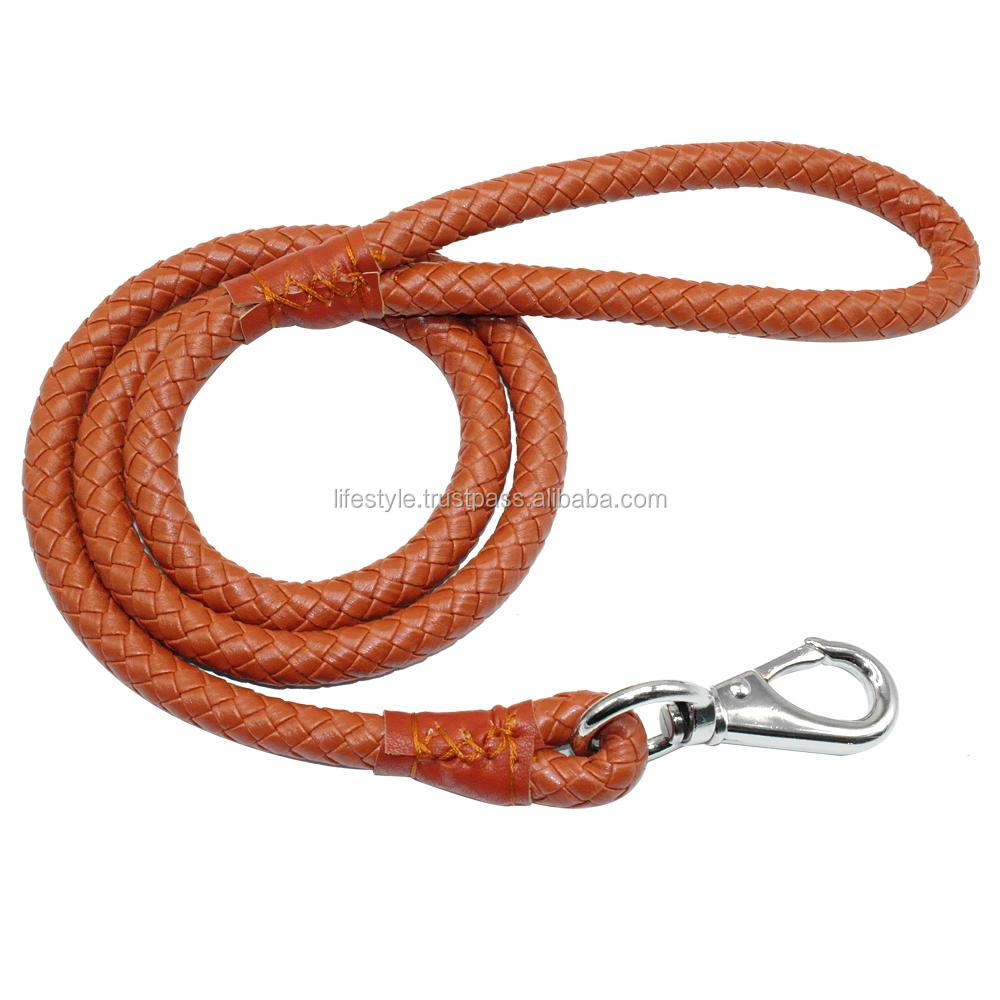 collars and leashes braided leather dog LEASH