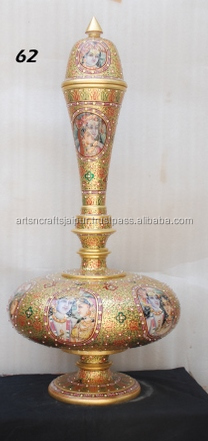 Indian Hand Carved Decorative 24k Real Gold Cutwork Vintage Marble Surai Vase