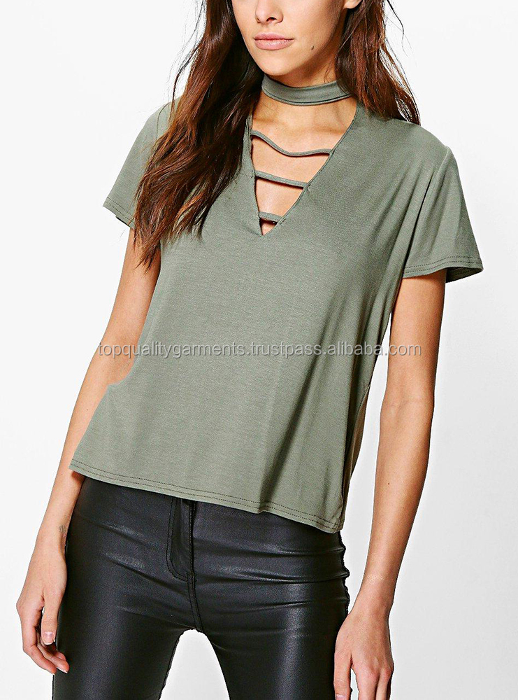 New Front Choker Tee Women Ladies Short Sleeve Green Yoga Baseball Summer Cheap 100% Polyester Cotton Customize Print