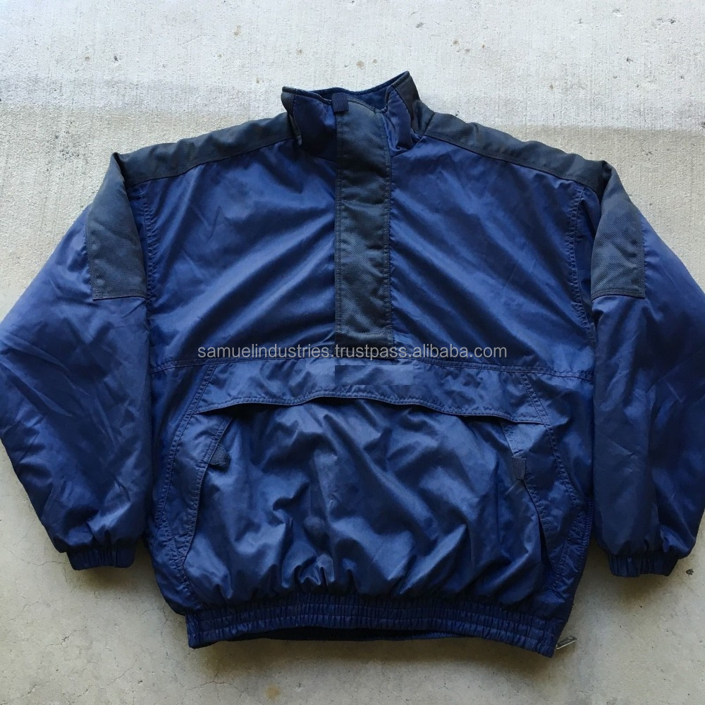 PULLOVER cotton bomber fleece Jacket\OEM man snow Quilted PUFFER jackets\Blue satin new style football varsity jacket