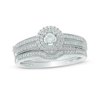 1/3 CT. T.W. Diamond Double Frame Bridal Set In 10K White Diamonds Stone Price Engagement Ring Stores