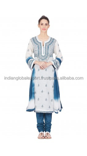 Blue Embroidered Full Sleeve Suit