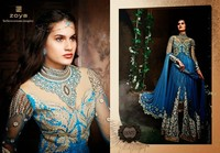Floral bridal sky blue 3 in one style anarakali lehenga choli with golden & white & golden heavy emroidered work salwar suit