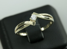 Solid yellow gold CZ solitaire ring 8k gold jewelry 1 gram gold ring