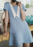 [FFD0009] Fashion Ladies woman round white neck dress