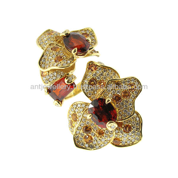 Orchid Flower Ring: 18K gold and diamond and yellow sapphire NDNH-198