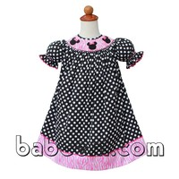 Lovely Minnie head hand smocked bishop dress