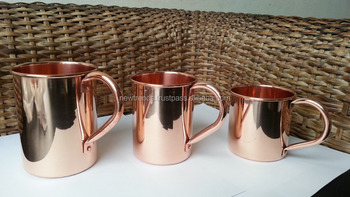 Straight Smooth Copper Beer Mugs with Riveted Handle, Copper Drinking Mugs with Rivet Handle, 12 oz straight copper mug