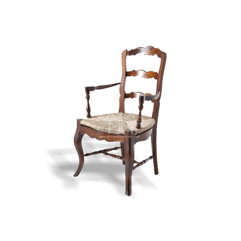 Provincial Ladder Back Dining Chair With Arm Rush Seat French ...