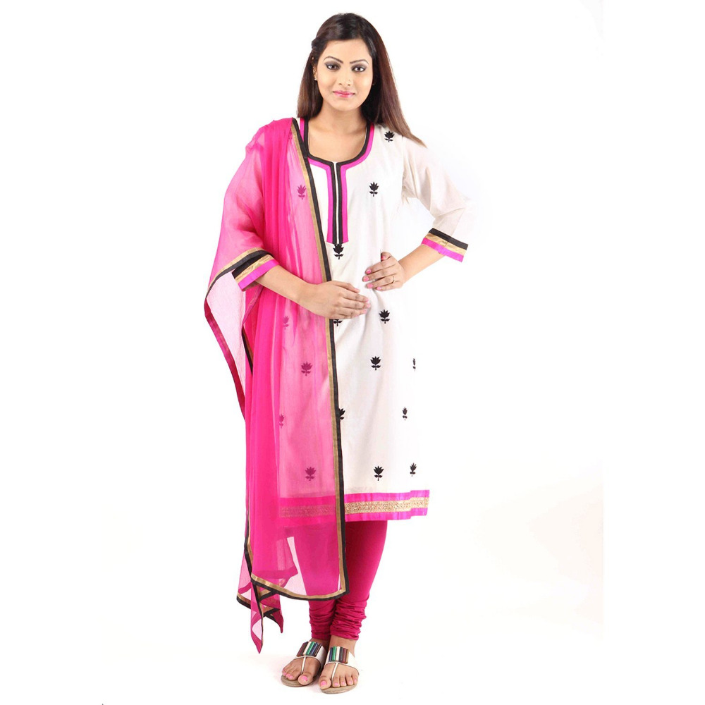 Plus Size Chanderi White Kurti For Women ( DMK_00001 )