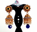 BOLLYWOOD FASHION BLUE COLOR JHUMKA EARRINGS-PEARL JHUMKA EARRINGS-TRADITIONAL SOUTH INDIAN JHUMKA EARRINGS ONLINE WHOLESALE