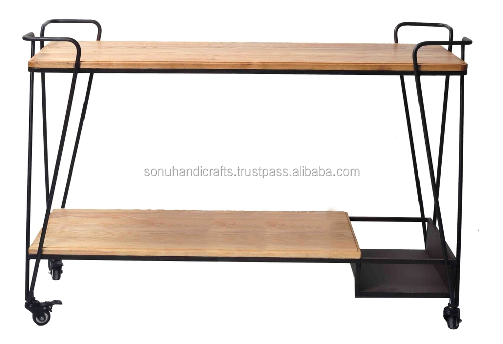 INDUSTRIAL IRON WOODEN TROLLEY