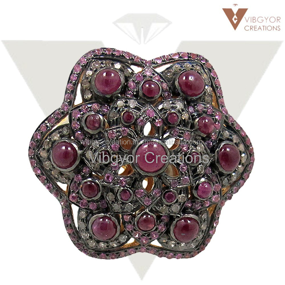 Latest design beautiful flower ruby 925 sterling silver sapphire 14k gold diamond ring