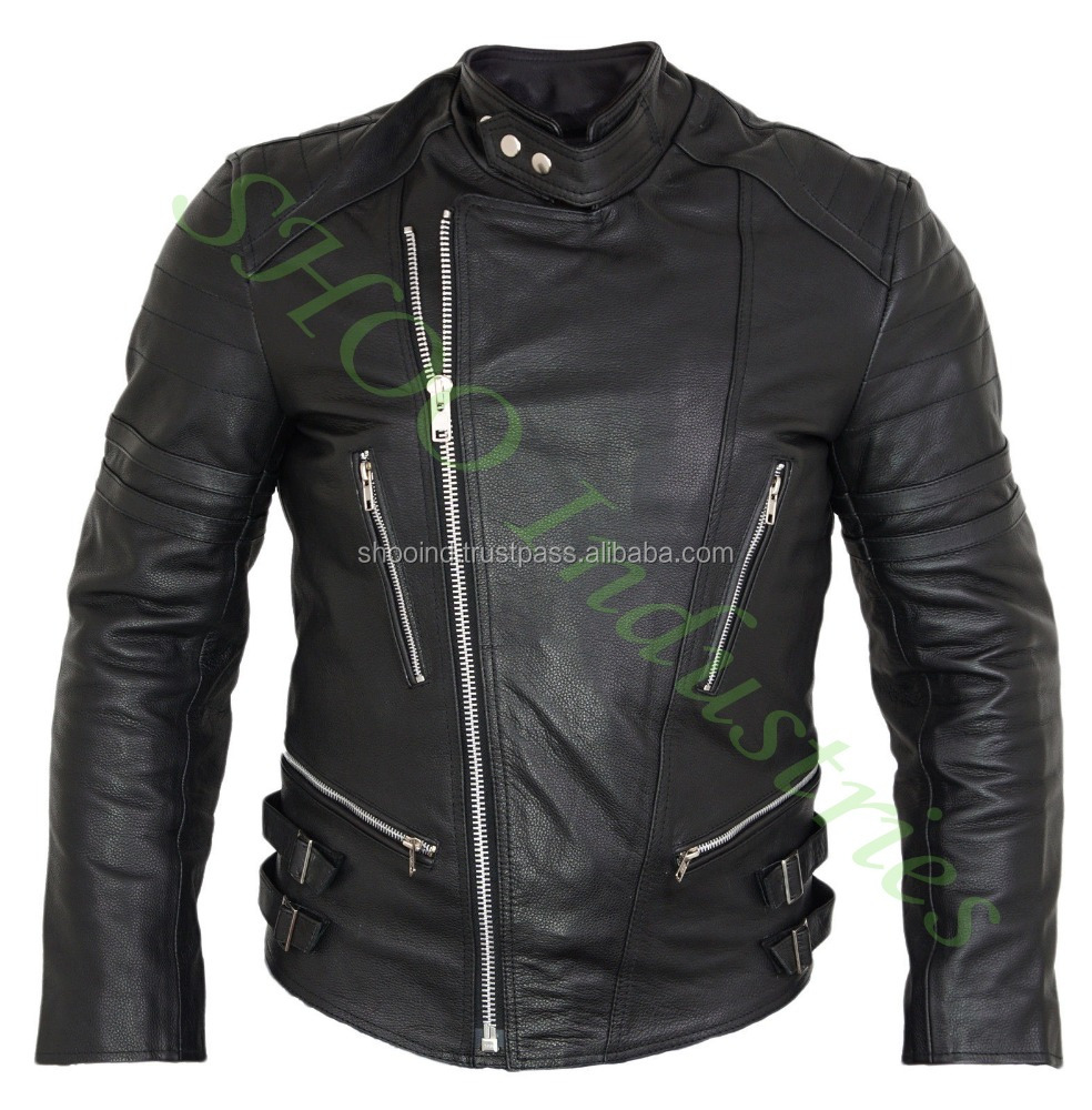 Men Black Biker Motorcycle Leather Jacket w/ White Stripe Motorbike Ladies Jacket