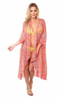 Summer's Sexy Looking Girls Wear Beach Cover Up Kaftan Sheer Printed Fabric