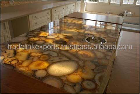 Yellow Wild Agate Natural Gemstone Kitchen Counter Top / Vanity Top