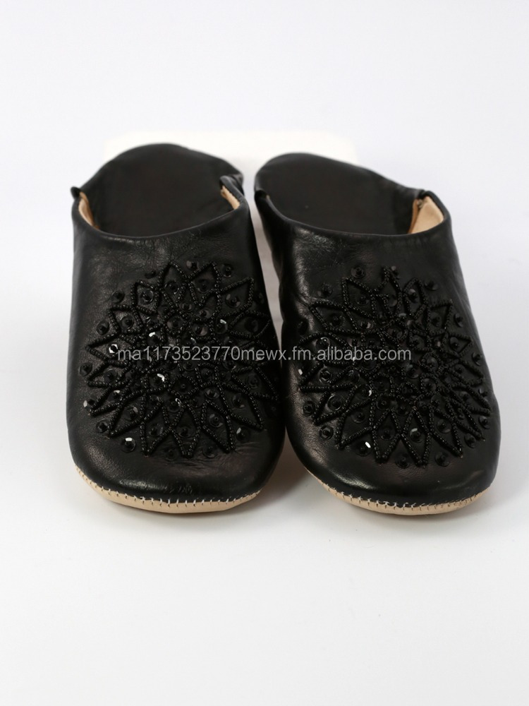 Black Moroccan babouche slippers for women, Beaded model
