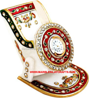 Designer Gold Painted Marble Clock, Beautiful Stone Mobile Holder