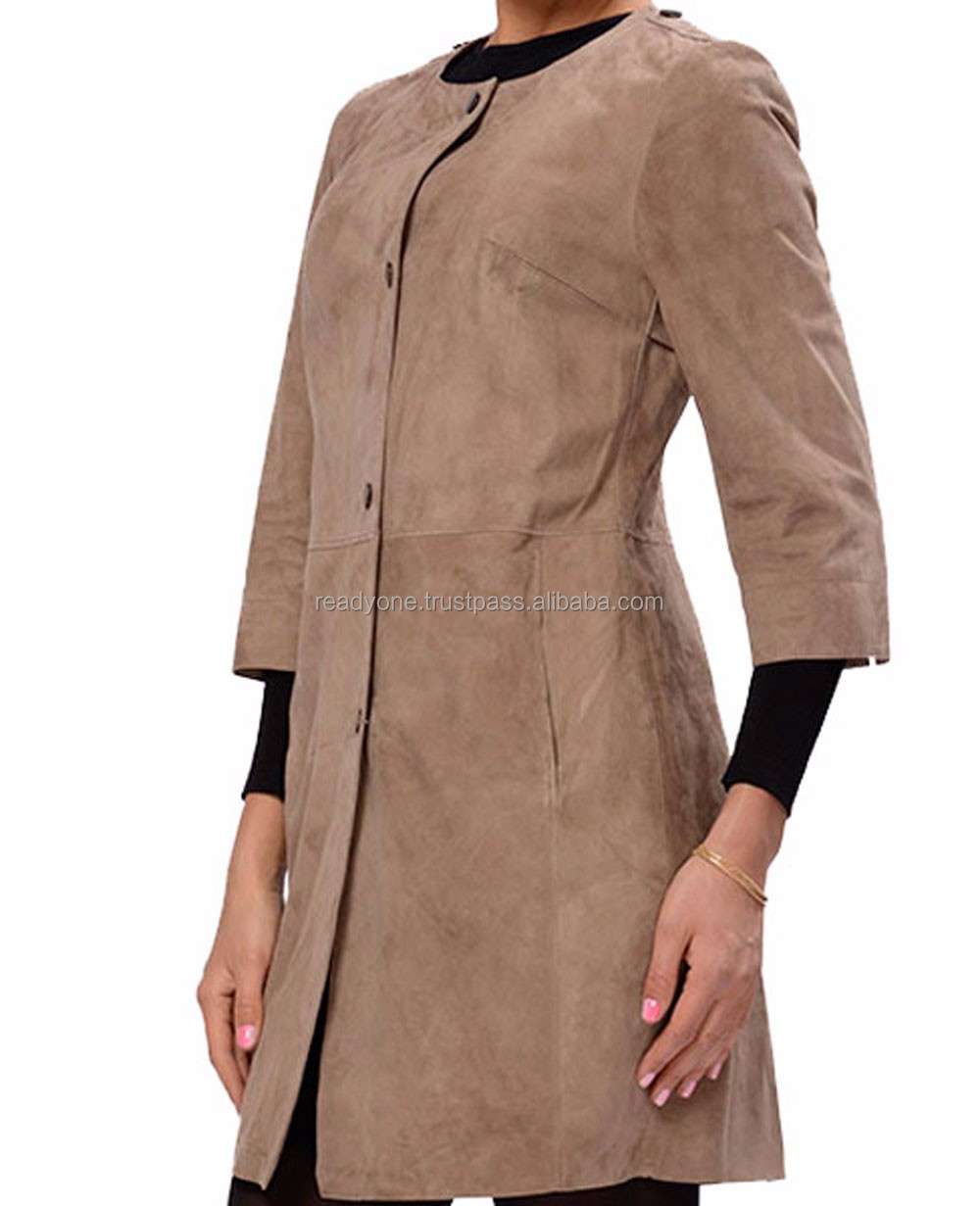 Design Zipper Front Long Leather Sleeve lapel Fashion Turkish