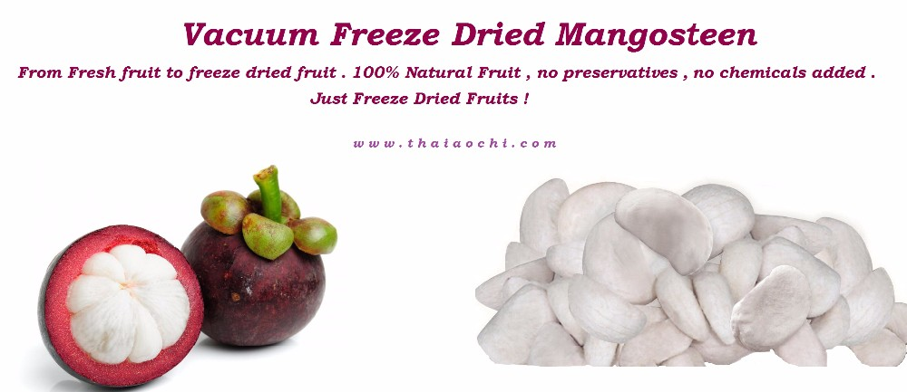 Vacuum freeze dried mangosteen 50 gm from Thailand . Dried fruit mangosteen . Dried fruit snacks .