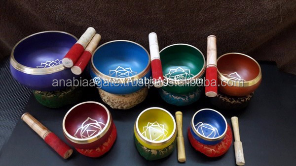 High Quality Colored Tibetan Handmade Meditation Singing Bowl