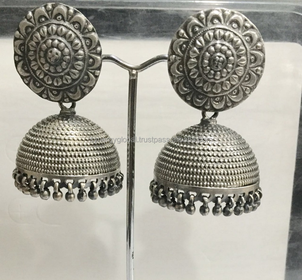 925 sterling silver hammered Indian earrings jhumkis for women- wholesale silver jewelry