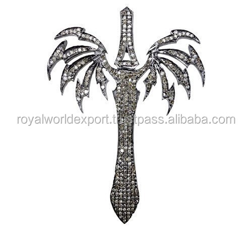 Victorian Style 0.90ctw Rose Cut Pave Diamond 925 Sterling Silver Wedding / Anniversary Sword Shaped Pendant with a chain/Arabia