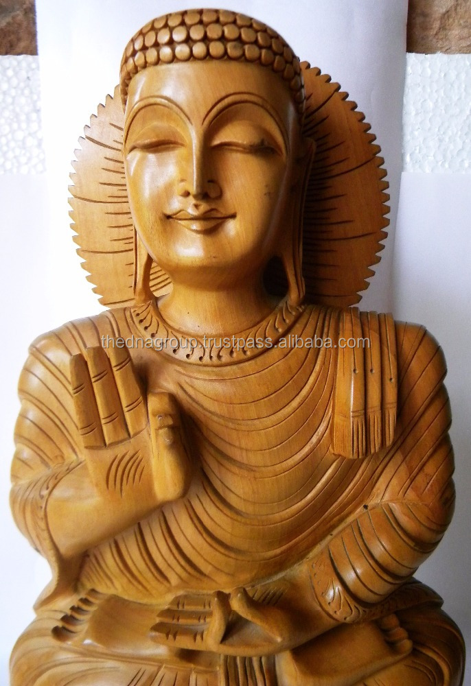 Meditated Buddha with Smiling Face - Handcarved Wooden Blessing Buddha Statue -12'' High - Nice for Home Decor