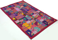 Pink Sari Patchwork Wall Hanging Handmade Tapestry Wall Decor Tapestry