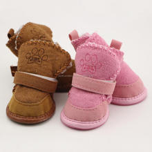 Non-slip shoes dog Teddy pet thick soft bottom snow boots Small Dogs Waterproof Winter Soft cotton boots 4PCS/SET