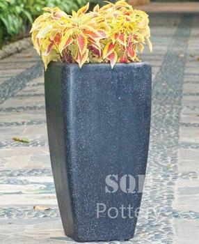 Tall Square Curved Light Terrazzo Planter